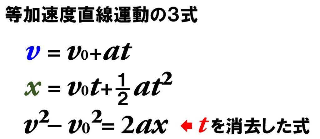 等加速度直線運動の3式