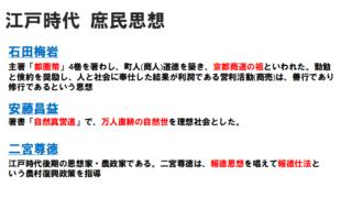 【高校倫理】江戸時代の庶民思想 石田梅岩・安藤昌益・二宮尊徳の教え