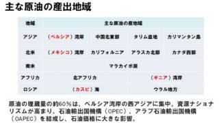 【高校地理】世界の石油・原油の主要グラフと産出地域まとめ